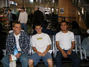 Jesse, John, and Alberto at the airport to see Jesse off.