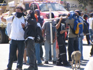 Youth protesters at the University of Oaxaca