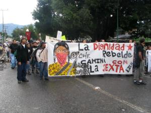 Marchers in Oaxaca.