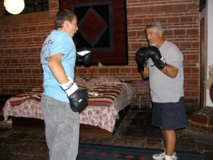 John and Barry boxing.
