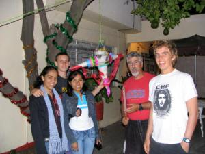 Barry's birthday pinata.  Liliana, John, Wendy, xxx, Barry, and Jesse (in his Che t-shirt)