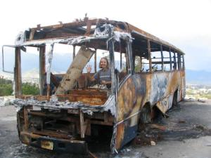 Burned bus blocking an intersection.  For us, the protests made Oaxaca even more interesting.