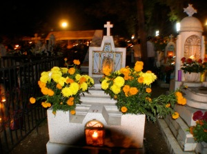 Families decorate graves