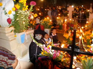 Costumed children at the cemetery.