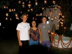 Jesse, Flor, John and Dia de Muertos lights.
