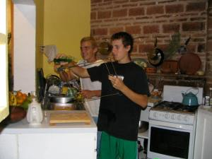 Jesse and John in our kitchen.