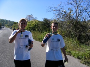 Jesse & John with their Monte Alban run medals--xxx kilometers.