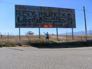 The government took away reminders of the protests in the city.  However, this sign outside Oaxaca was still standing on Nov. 28.