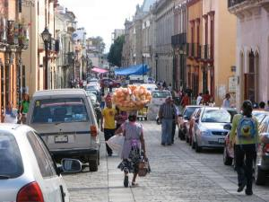 Bustling street in Oaxaca City