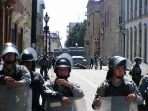 Federal Police blocking the way to the Zocalo