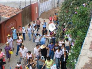 Religious parade in the street below our house.