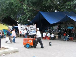 Vendors and protesters in the Zocolo