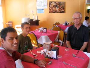 Adriano, John, and Gary--our vegetarian buffet partners.
