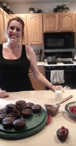 Vanessa is a great cook!  This is what she did with zucchini--chocolate/zucchini cupcakes with raspberry topping!