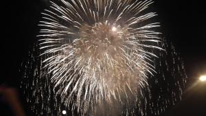 Fireworks over the Mississippi River