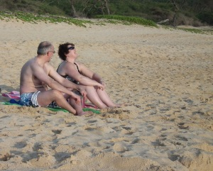 Tourist couple at  Makena Beach (Big Beach) xxx