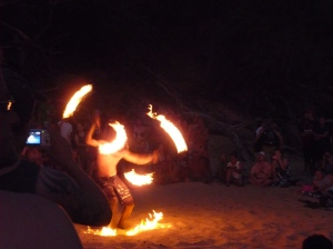 Fire dancer at Little Beach
