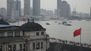 View from the 6th floor Glamour Bar toward the Bund and the Huangpu River.