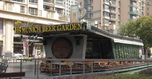 Beer garden and expensive Shanghai apartments