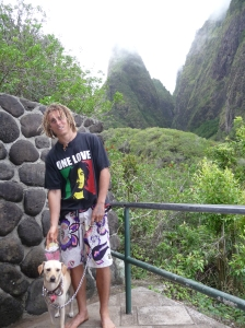 If a dog gets lots of exercise and attention, he is likely to be a happy dog.  Nalu and John after a hike through Iao