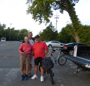 My brother Al with Barry and me at the start of the Katy Trail