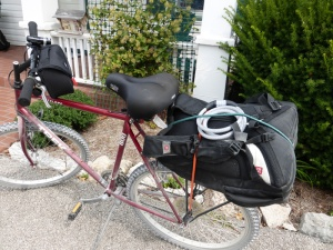 My trail grit covered bike at the Augusta Lower Main Street B&B