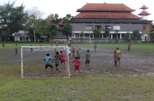 At the football field in Ubud, Bali.