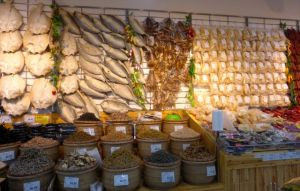 The dried fish section.