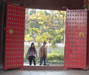 A young couple in Green Lake Park, Kunming, Yunnan Province, China