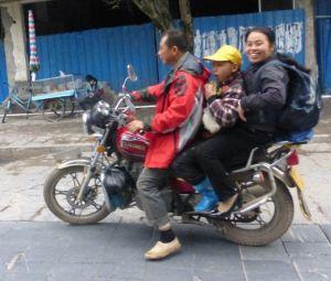 After-school pick-up, Yangshou, China