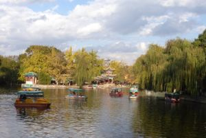 Under a blue sky and warm sun, many enjoyed being in Green Lake Park.
