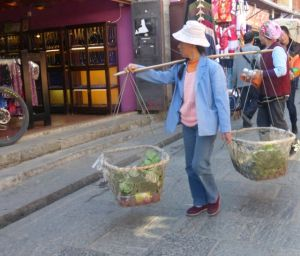 Farmers bring their produce to sell in the streets.