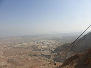 From the top of Masada.  A cable car brings up those who do not want to climb the Snake Path.
