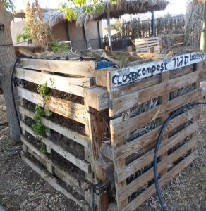 This compost bin also made from wooden pallets allows air to reach the depth of the decomposing  pile.