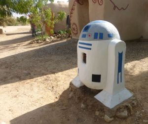 R2D2 is now living at Kibbutz Lotan - and reminding people to recycle cans.  Who knew? :)