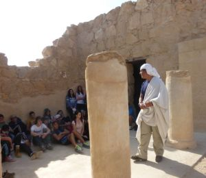 Here a Masada guide quotes Eleazar Ben-Yair's speech calling for honorable death over  capture by the Roman.