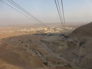 From the Masada cable car.  You can see the layout of one of the Roman camps down below.