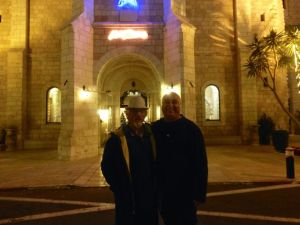 Barry and Michael in front of Notre Dame Jerusalem