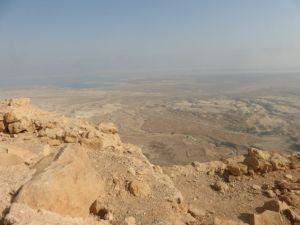 View toward the Dead Sea.  The plateau of Masada is located on the eastern fringe of the Judean Desert near the shore of the Dead Sea, between En Gedi and Sodom.