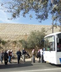 Muslim Arabs coming by bus to Jerusalem to pray.