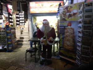 Santa was there in the Old City Jerusalem.