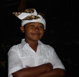 Dressed up for a temple ceremony, another cute Balinese boy