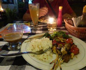 One of my favorites: vegetable/pineapple skewers  at Warung Boga Sari