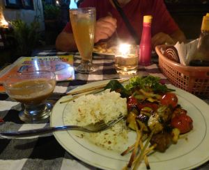 One of my favorites: vegetable/pineapple skewers  at Warung Boga Sari