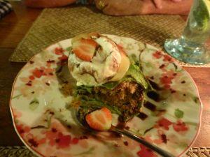 Warm volcano chocolate cake with vanilla ice cream - yum - at Bollero's.