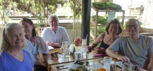 With friends at lunch at Bali Buddha