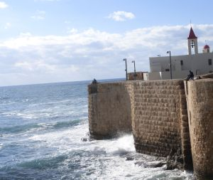 Acre sea wall - now a good spot for fishing.