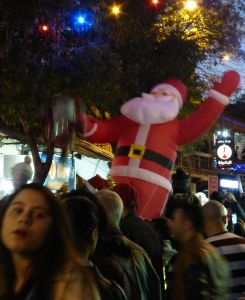 "The inflated Santa in the parade yelled out, ""Hey, hey, hey!"""