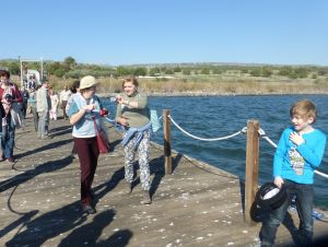 Walking on a pier into the Sea of Galilee: xxx, Olga, Svetlana, Stephanxxx
