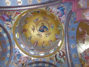 Beautiful frescos glow on the walls of the church